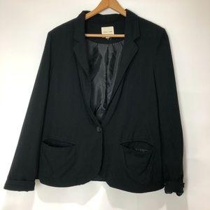 Cloth & Stone Rolled Cuff Relaxed Black Blazer